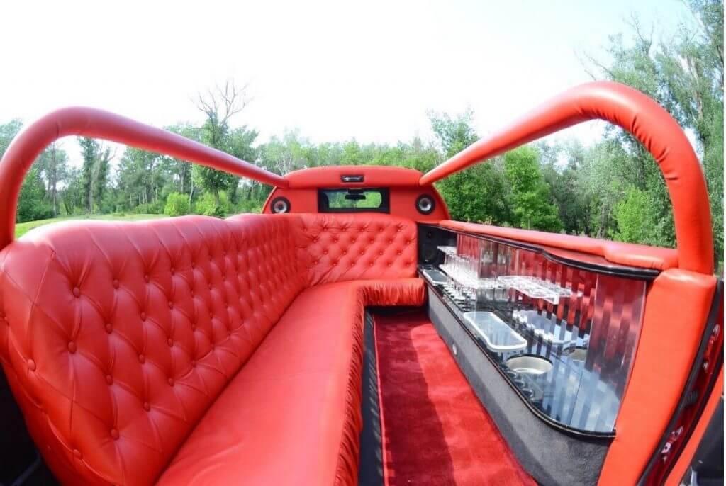 Red abriolet limousine interior