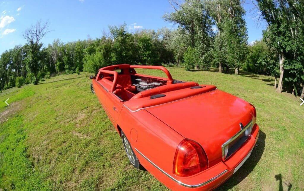 Red abriolet limousine top view