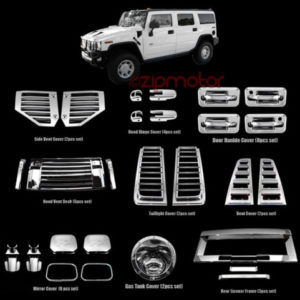 HUMMER H2 CHROME COVER TRIM 36PCS COMBO DOOR HANDLE MIRROR HOOD DECK VENT - LimoMarket.com