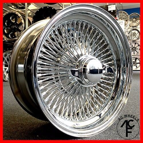 15x7 STANDARD 100 SPOKE WIRE WHEELS STRAIGHT LACE ALL CHROME RIMS (4pcs) - LimoMarket.com