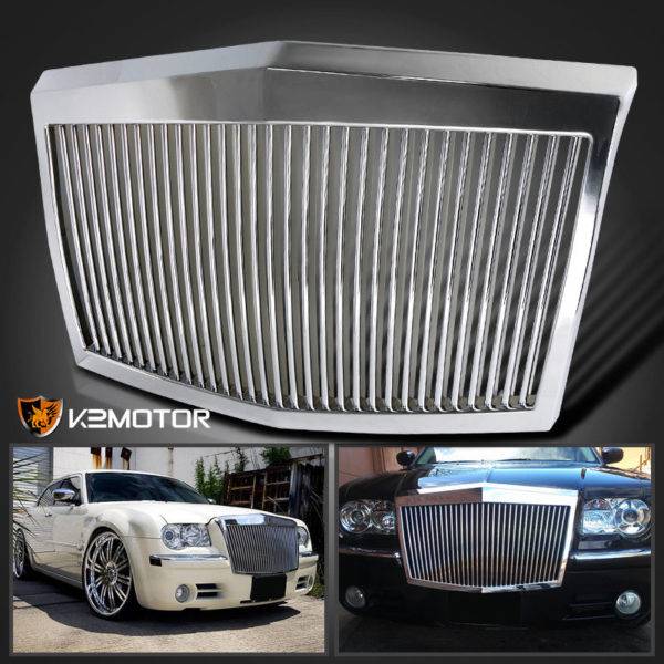 Chrysler 300 300C Vertical Phantom Style Front Bumper Hood Grille Chrome - LimoMarket.com