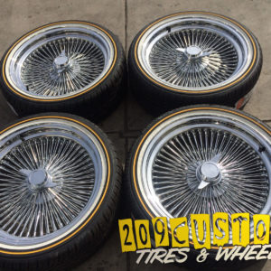 15x7 Standard 100 Spoke Wire Wheels Straight Lace All Chrome Rims